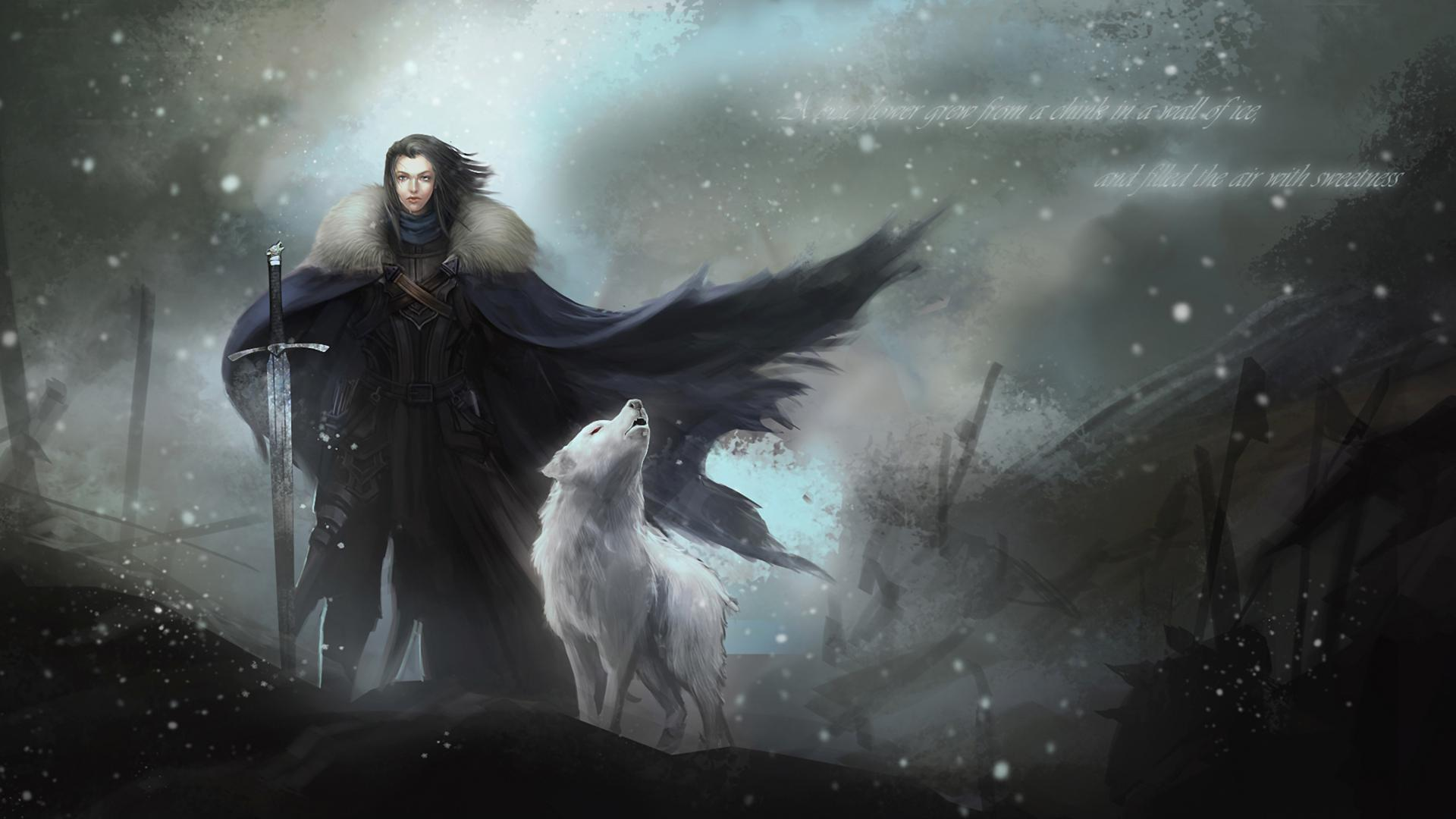 Hd Wallpapers Backgrounds For Game Of Thrones Free For: Jon Snow Y Fantasma