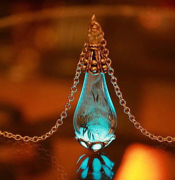 """Silver or Gold tear drop pendant with Dandelion seeds """"glow in the dark"""""""